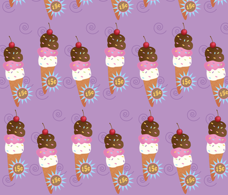 Large Ice Cream Cone Raspberry fabric by buzzellis on Spoonflower - custom fabric