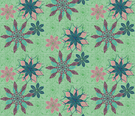 Flower dance green fabric by kirpa on Spoonflower - custom fabric