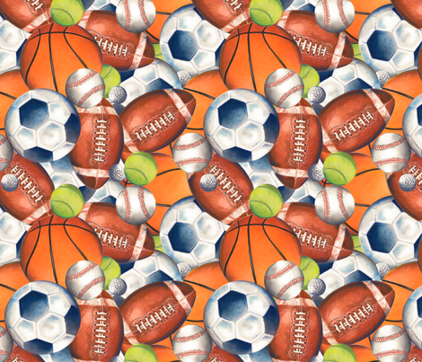 Play Ball (collage) fabric by twobloom on Spoonflower - custom fabric