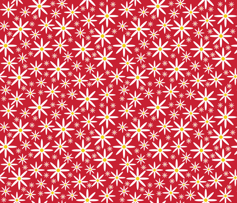 Field of Daisies-Red fabric by jjtrends on Spoonflower - custom fabric