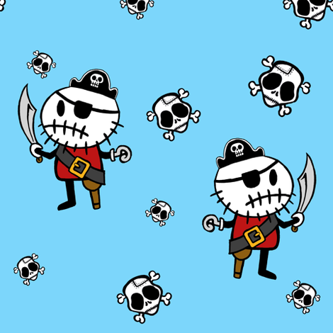 Blue ©Rocky The Zombie Pirate fabric by rockythezombie on Spoonflower - custom fabric