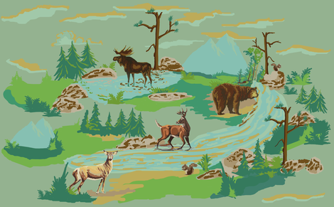 Paint by number woodland animals Scaled for heavy cotton twill  fabric by hollycejeffriess on Spoonflower - custom fabric