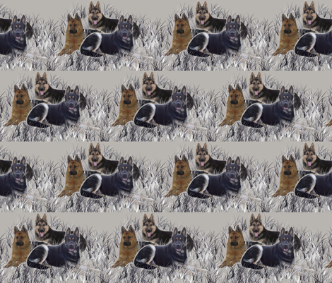 German Shepherds In The Grass fabric by dogdaze_ on Spoonflower - custom fabric