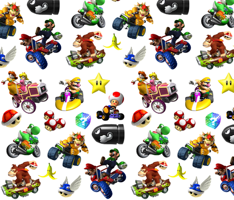 Mario Kart Party fabric by dynamiteneedleworks on Spoonflower - custom fabric