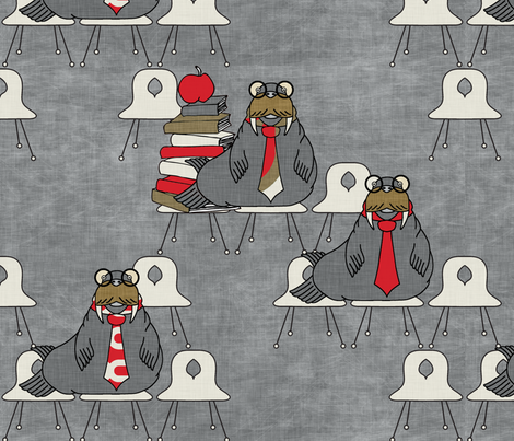 walrus_attending_class_linen fabric by holli_zollinger on Spoonflower - custom fabric
