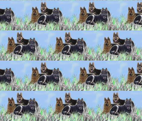 GSD family two fabric by dogdaze_ on Spoonflower - custom fabric