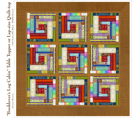 Booklover's Log Cabin Table Topper or Lap-size Quilt-top fabric by fireflower on Spoonflower - custom fabric