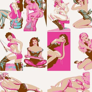 Pink Turquoise Brown Vintage Retro Pin Up Girls