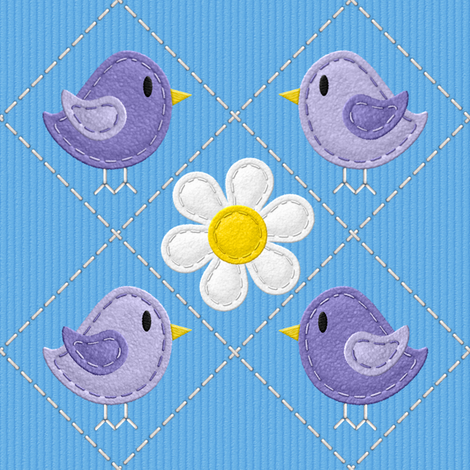 Hello Stitchy Birdy v2.1 fabric by shelleymade on Spoonflower - custom fabric