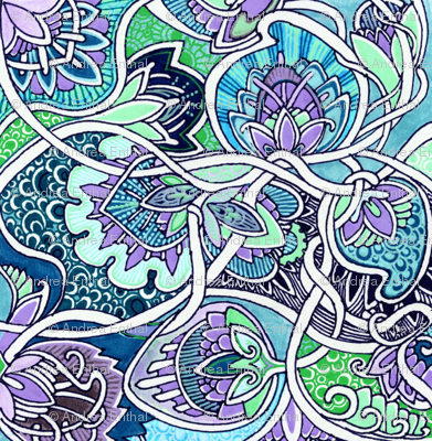 A Tangle of Blue Nouveau