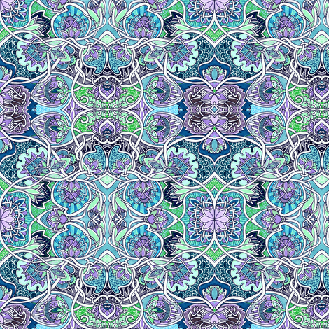 A Tangle of Blue Nouveau fabric by edsel2084 on Spoonflower - custom fabric