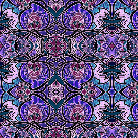 Midnight Lily Pond fabric by edsel2084 on Spoonflower - custom fabric