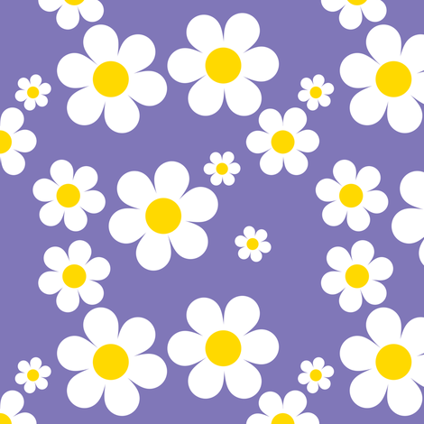 Birdy Daisies Purple v2.1 fabric by shelleymade on Spoonflower - custom fabric