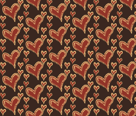 hearts-on-brown fabric by terriaw on Spoonflower - custom fabric