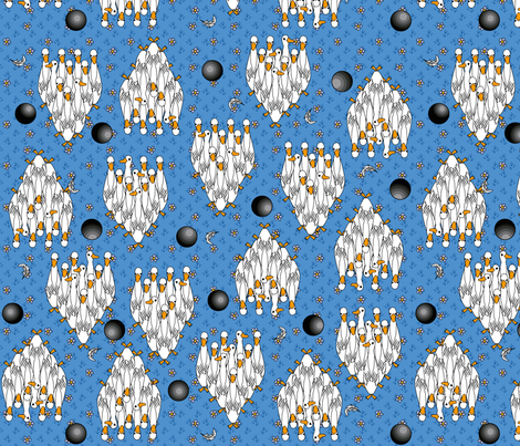 ©2011 Duckpins - blue fabric by glimmericks on Spoonflower - custom fabric