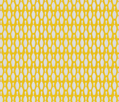 mustard_and_gray_bowling_pins fabric by glimmericks on Spoonflower - custom fabric