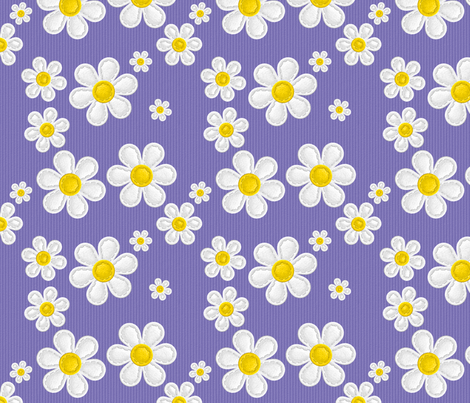Applique Daisies Purple v2.1 fabric by shelleymade on Spoonflower - custom fabric