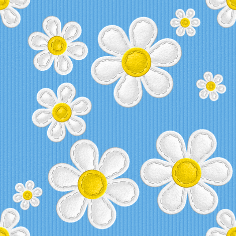 Applique Daisies Aqua Blue v2.1 fabric by shelleymade on Spoonflower - custom fabric