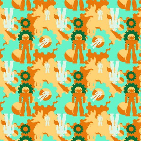 happy bots1 fabric by familypendragon on Spoonflower - custom fabric