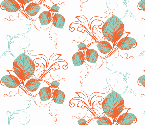 Autumn in Teal fabric by cksstudio80 on Spoonflower - custom fabric