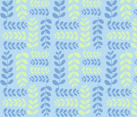 Olive Branches, 2 (aqua, lime & deep sky) fabric by pattyryboltdesigns on Spoonflower - custom fabric