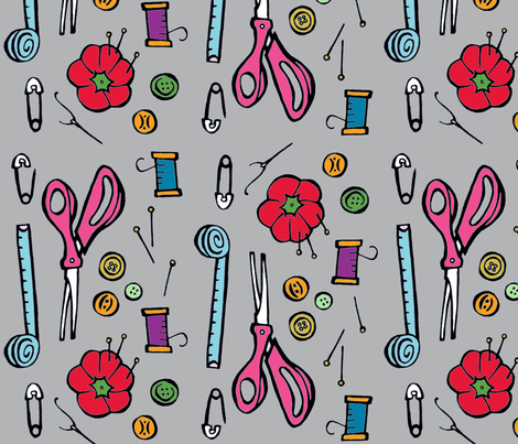 sewing tools fabric by katherinecodega on Spoonflower - custom fabric