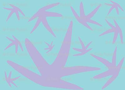 Squiggle Leaf! (violet & deep aqua)