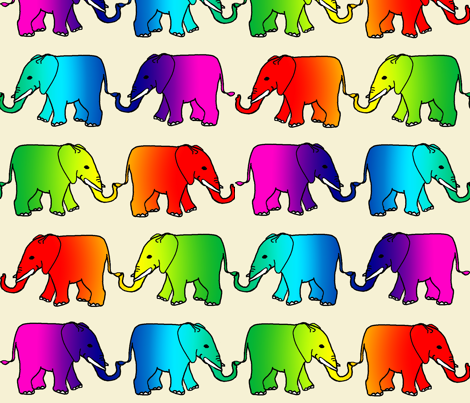 rainbow_elephant_parade fabric by topfrog56 on Spoonflower - custom fabric
