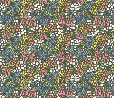 spring field designs grey fabric by cjldesigns on Spoonflower - custom fabric