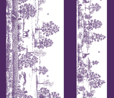 Purple Borders Greyhound Toile fabric by artbyjanewalker on Spoonflower - custom fabric