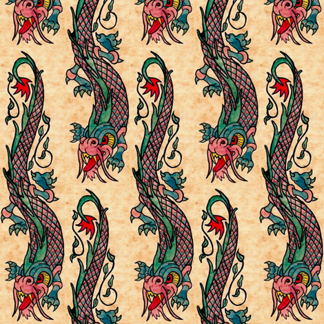 Dragon ink tattoo fabric by paragonstudios on Spoonflower - custom fabric