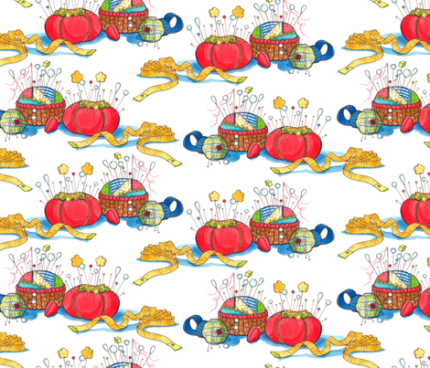 Pincushions-primary fabric by leslipepper on Spoonflower - custom fabric
