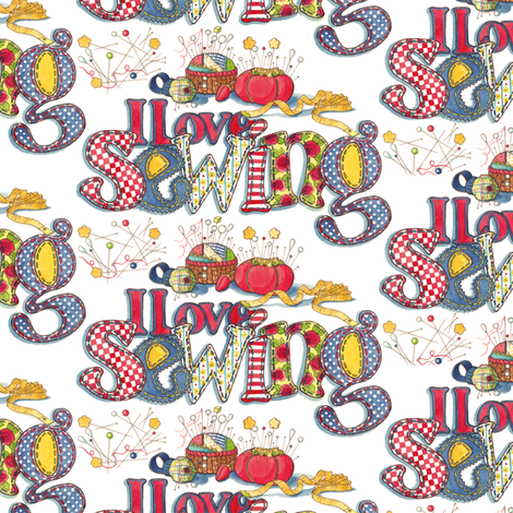 I Love sewing-muted fabric by leslipepper on Spoonflower - custom fabric
