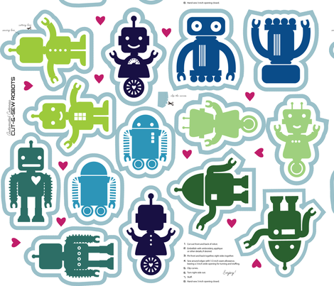 Automated Cuteness Robot Softies fabric by jenimp on Spoonflower - custom fabric