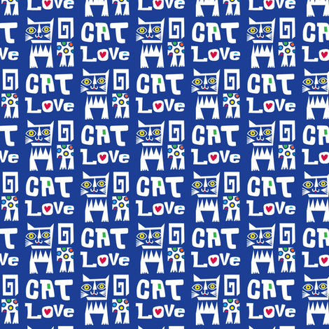 Cat Love -  Tribal fabric by andibird on Spoonflower - custom fabric