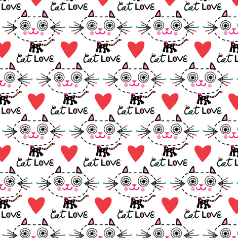 Cat Love - Hearts fabric by andibird on Spoonflower - custom fabric