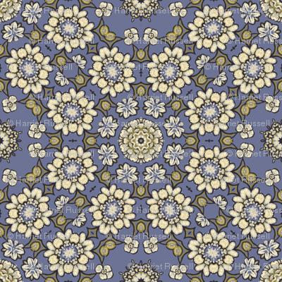 sketchy floral on blue 193049