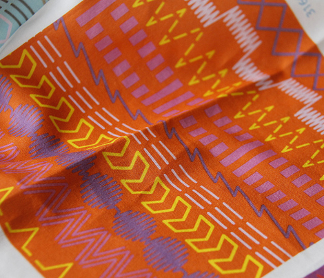 Sewing Machine Stitches on Orange
