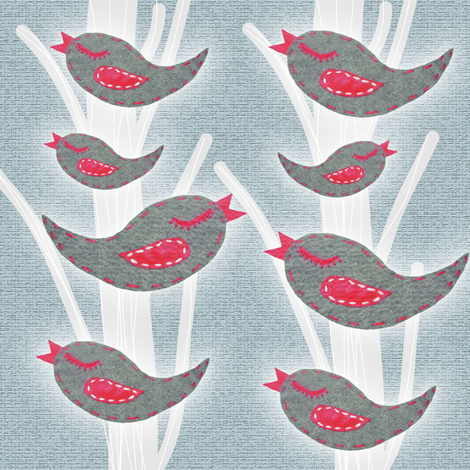 birds in a tree fabric by emmacdesigns on Spoonflower - custom fabric
