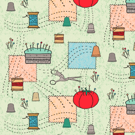 Sweet vintage sewing fabric by fantazya on Spoonflower - custom fabric