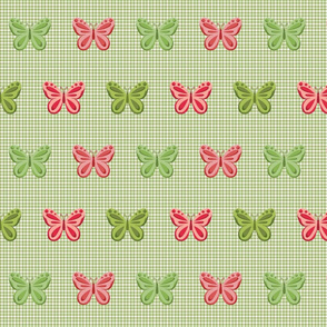Butterflies on Sage & Moss Gingham