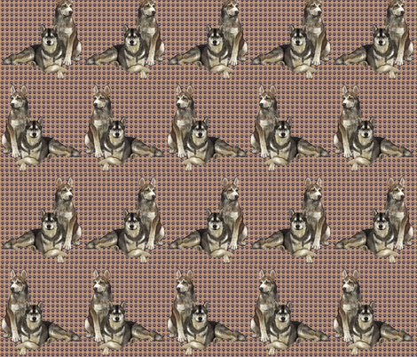 Siberian Huskies Two fabric by dogdaze_ on Spoonflower - custom fabric