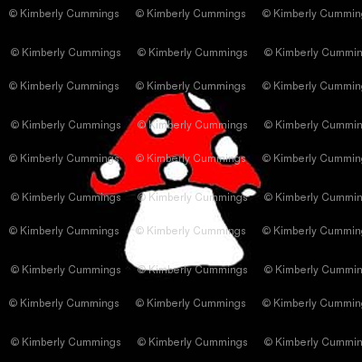 Red Toadstool on Black