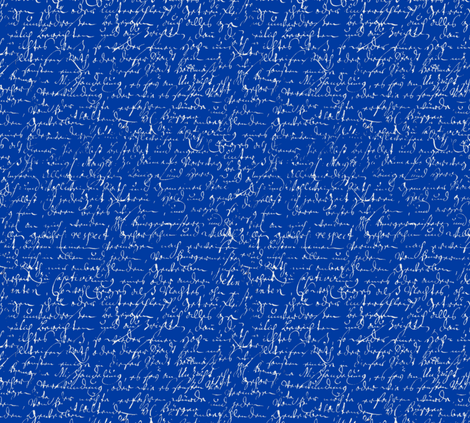 I Thought I'd Write To Juliet... Cobalt Blue & Silver fabric by peacoquettedesigns on Spoonflower - custom fabric