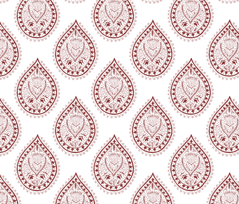 Mumbai in oxblood fabric by domesticate on Spoonflower - custom fabric