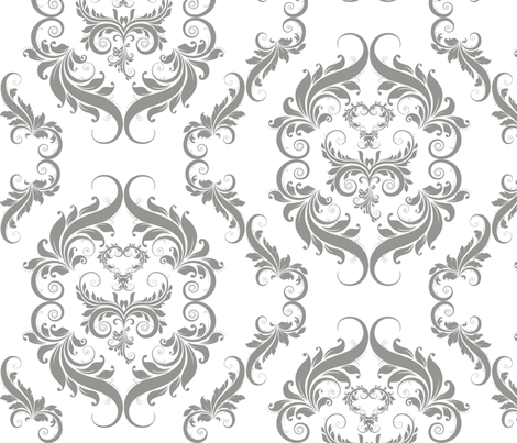 Gray on White Damask fabric by cksstudio80 on Spoonflower - custom fabric