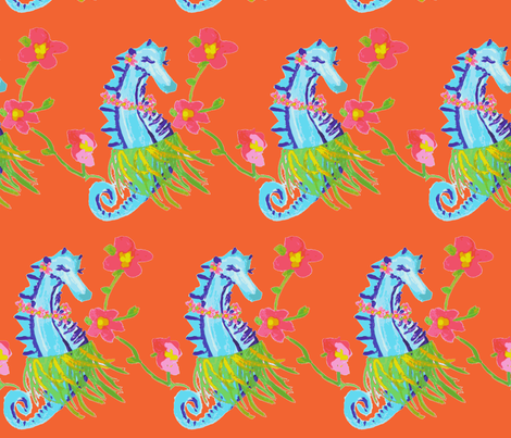Seahorse Hula (acrylic) -ch fabric by palmrowprints on Spoonflower - custom fabric