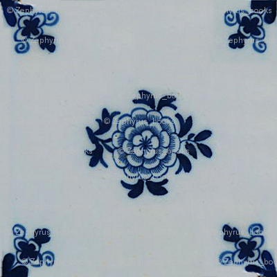 Classic Delft Blue Ceramic Tile Inspired Pattern - Floral motif