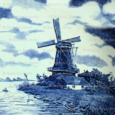 Classic Delft Blue Ceramic Tile Inspired Pattern - Windmill motif