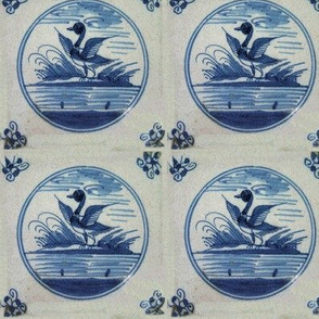 Classic Delft Blue Ceramic Tile Inspired Pattern - Flapping Duck motif
